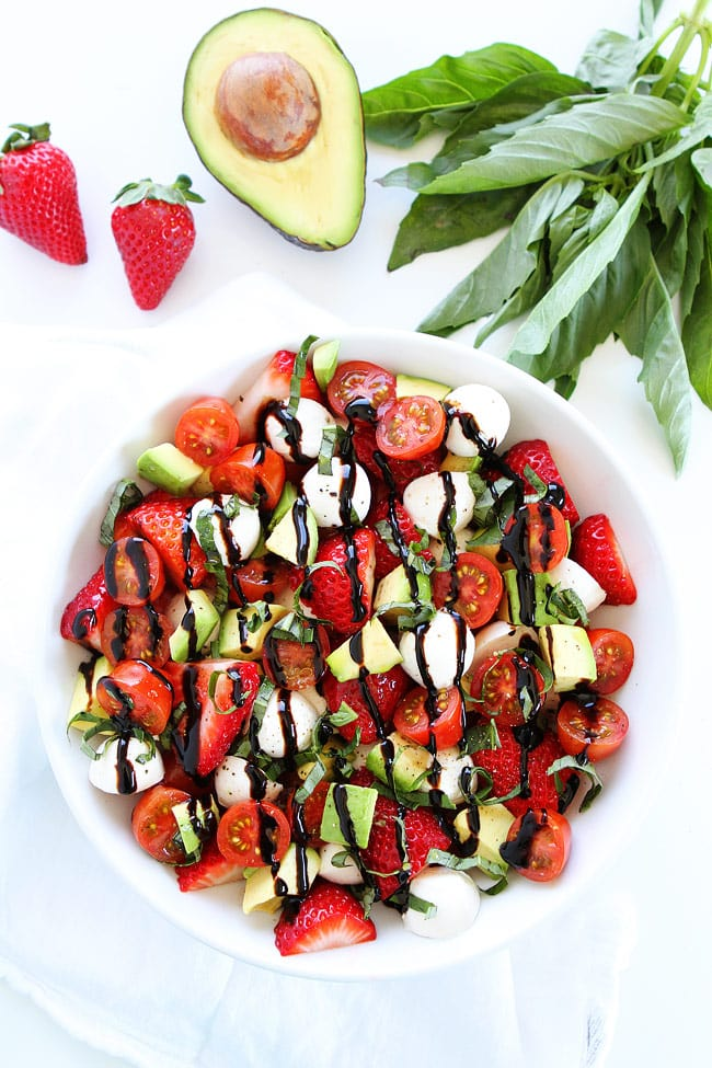 Fresh Caprese Salad Recipe including strawberries and avocado