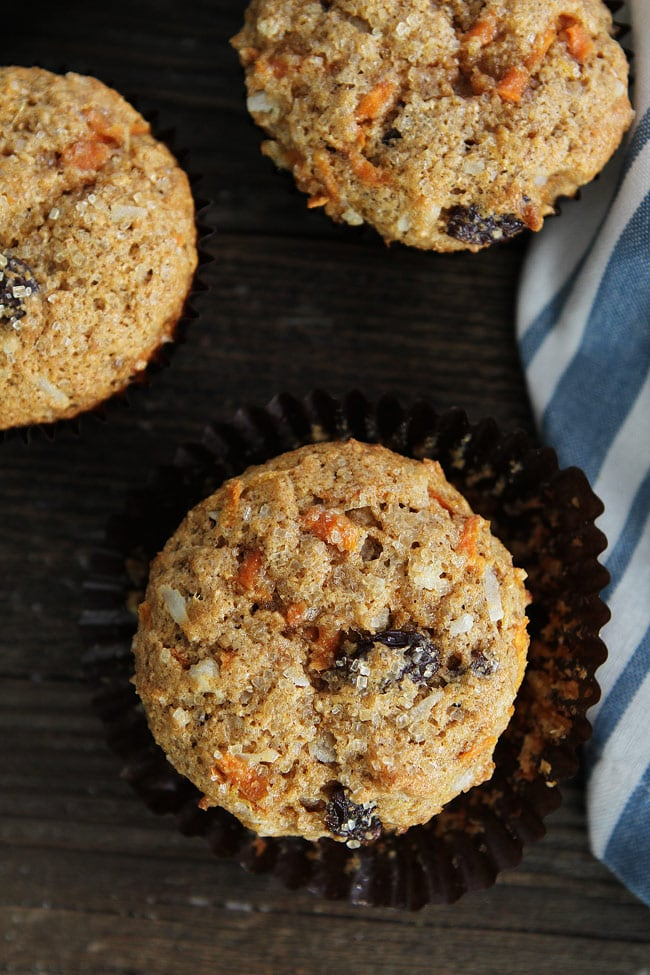 Removing muffin wrapper from Morning Glory Muffins