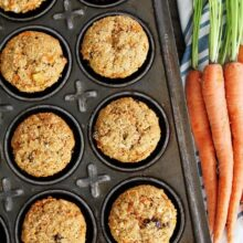 Morning glory muffins made with whole wheat in muffin tin