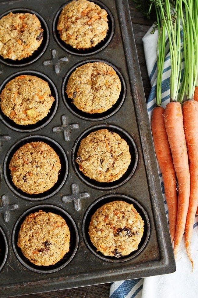 Morning Glory Muffins packed with carrots, coconut, raisins, and pineapple