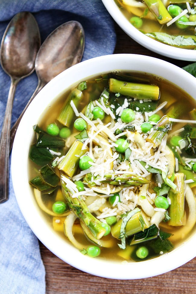 Spring Vegetable Zucchini Noodle Soup Recipe