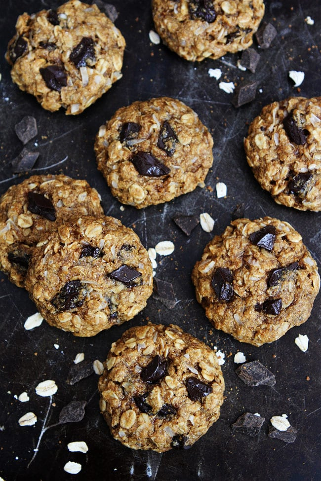 Whole Wheat Banana Coconut Oatmeal Chocolate Chunk Cookies Recipe