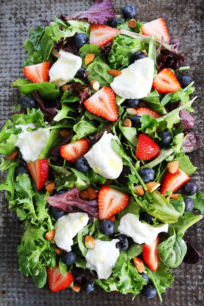 Berry, Burrata, and Almond Salad