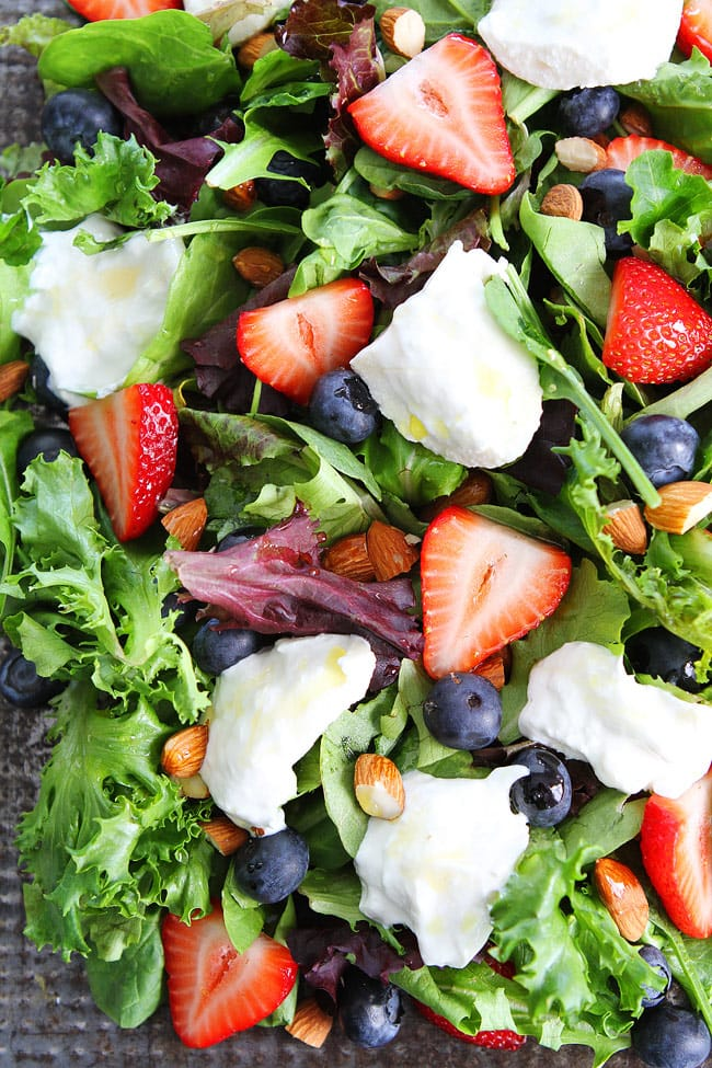 Berry, Burrata, and Almond Salad Recipe