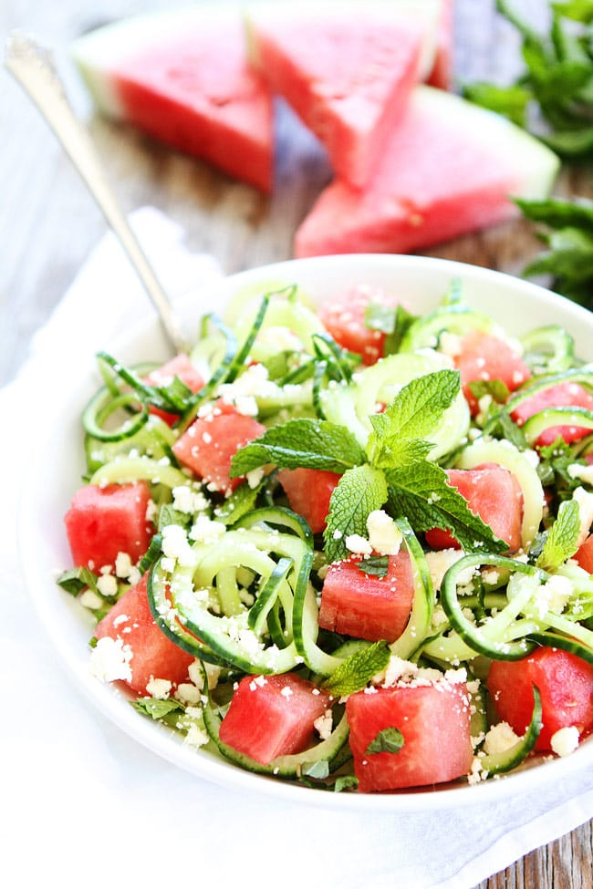 Cucumber Noodle, Watermelon, and Feta Salad Recipe