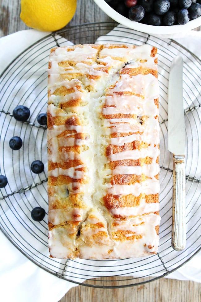 Lemon Blueberry Bread On Plate To Cut