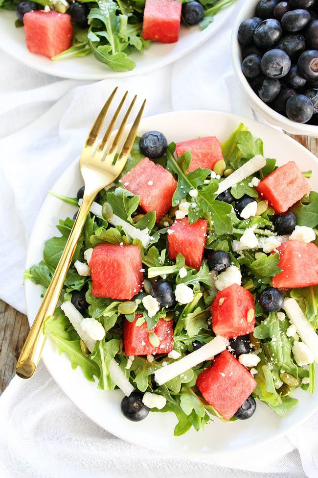 Watermelon, Blueberry, and Jicama Arugula Salad Recipe