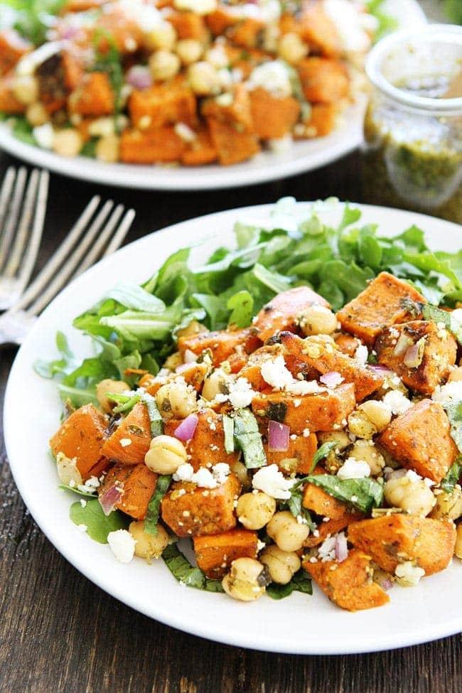Sweet Potato Chickpea Salad with Pesto Recipe
