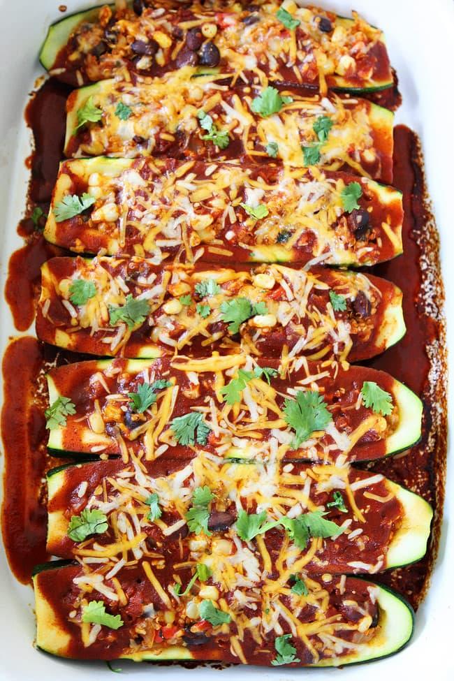 Black Bean and Quinoa Enchilada Zucchini Boats Recipe