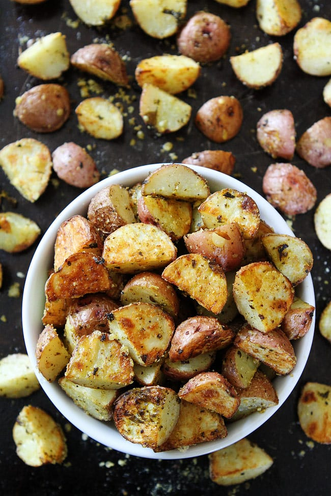 3-Ingredient Roasted Parmesan Pesto Potatoes You only need 3 ingredients to make these easy potatoes. They are great for busy weeknight dinners or holiday meals
