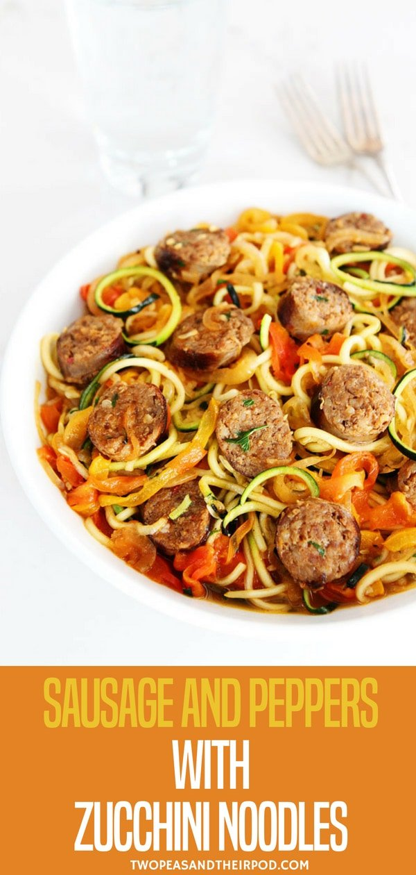 Sweet and spicy Italian sausage with peppers, onions, and zucchini noodles in a simple garlic tomato sauce. A quick and easy dinner that the entire family will love! Visit twopeasandtheirpod.com for more simple, fresh, and family friendly meals. #zucchini #healthy #healthyeating #healthyrecipes