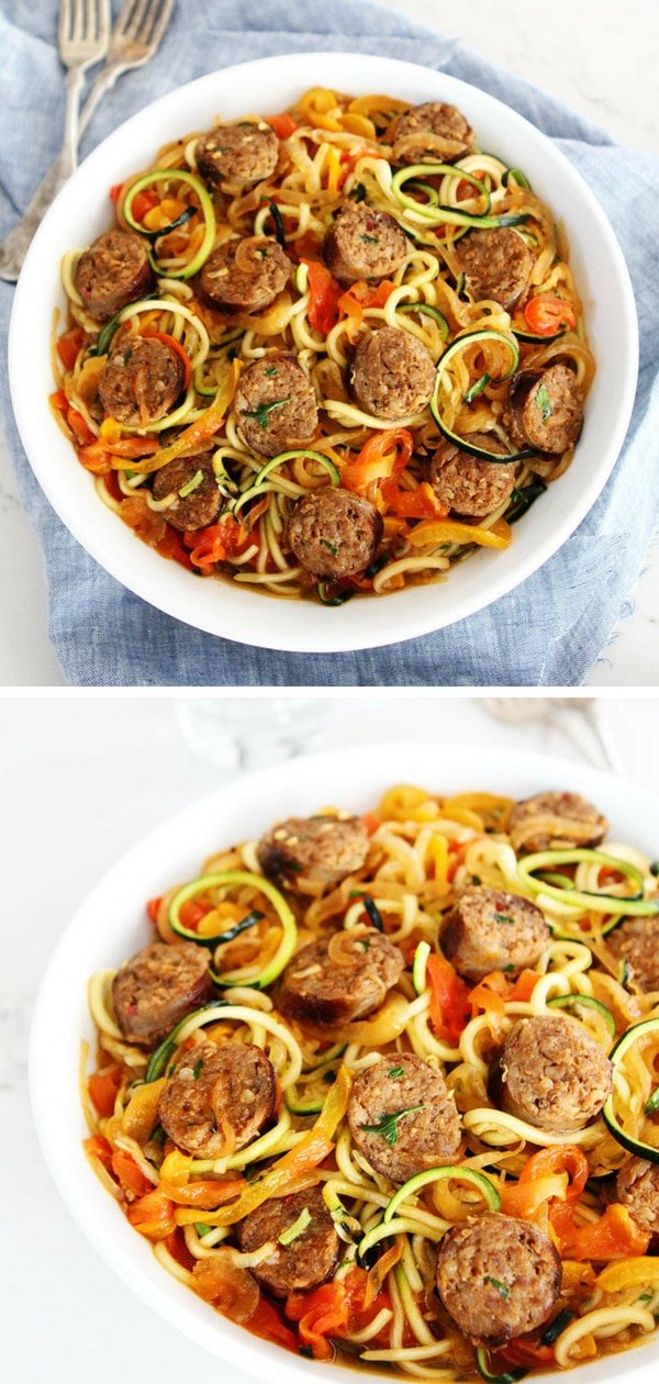 Get out your Inspiralizer and make Sausage and Peppers with Zucchini Noodles for dinner. It is sure to be a hit! The dish has spirliazed zucchini, peppers, and onions. Yes, you can spiralize onions. How fun! Visit twopeasandtheirpod.com for more simple, fresh, and family friendly meals. #zucchini #healthy #healthyeating #healthyrecipes