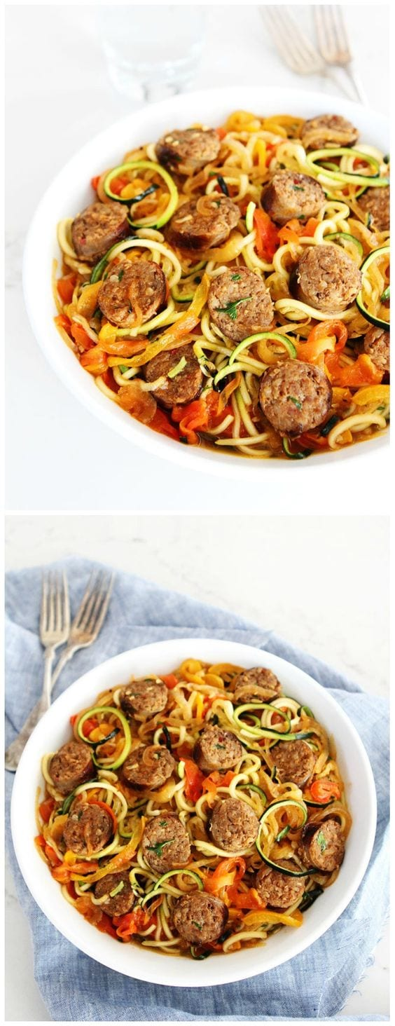 Sausage and Peppers with Zucchini Noodles-sweet and spicy Italian sausage with peppers, onions, and zucchini noodles in a simple garlic tomato sauce. Visit twopeasandtheirpod.com for more simple, fresh, and family friendly meals. #zucchini #healthy #healthyeating #healthyrecipes