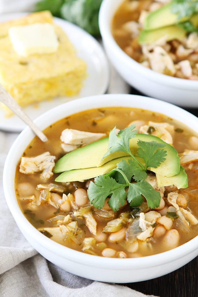 Easy White Chicken Chili topped with avocado and cilantro