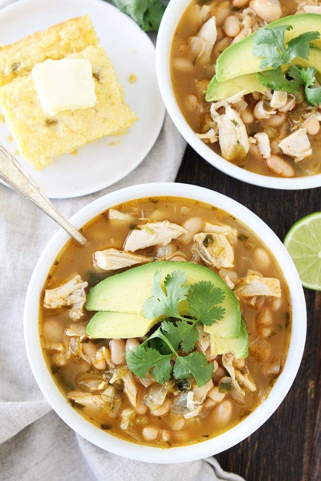 White Chicken Chili served with cornbread