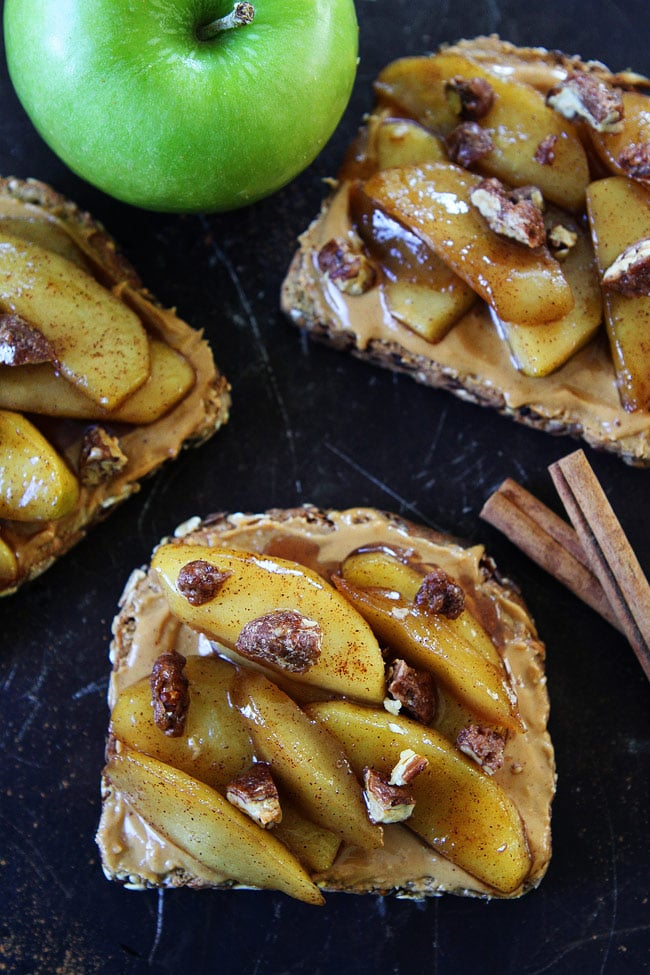 Peanut Butter Toast with Skillet Cinnamon Apples Recipe