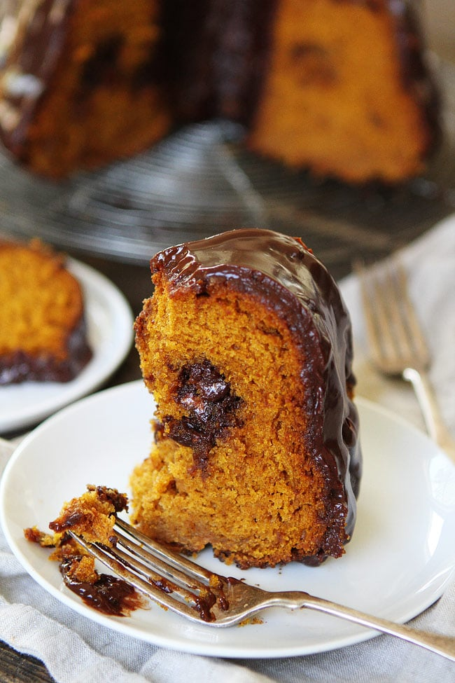 Pumpkin Truffle Bundt Cake with Chocolate Ganache Recipe