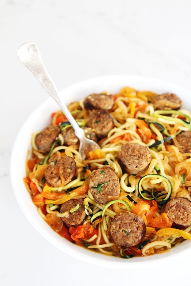 Sausage and Peppers with Zucchini Noodles Recipe