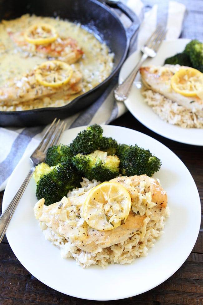 Skillet Creamy Lemon Rosemary Chicken Recipe