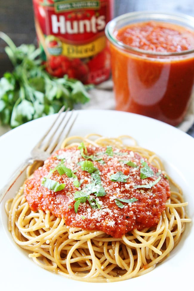Slow Cooker Marinara Sauce that is made in the crockpot and SO good. It is a family favorite and freezer friendly