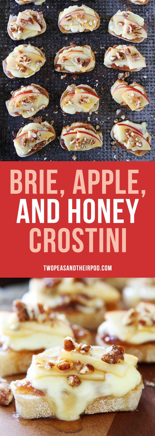 Brie Apple and Honey Crostini is a quick and easy holiday appetizer! #holidays #brie #apple #appetizer