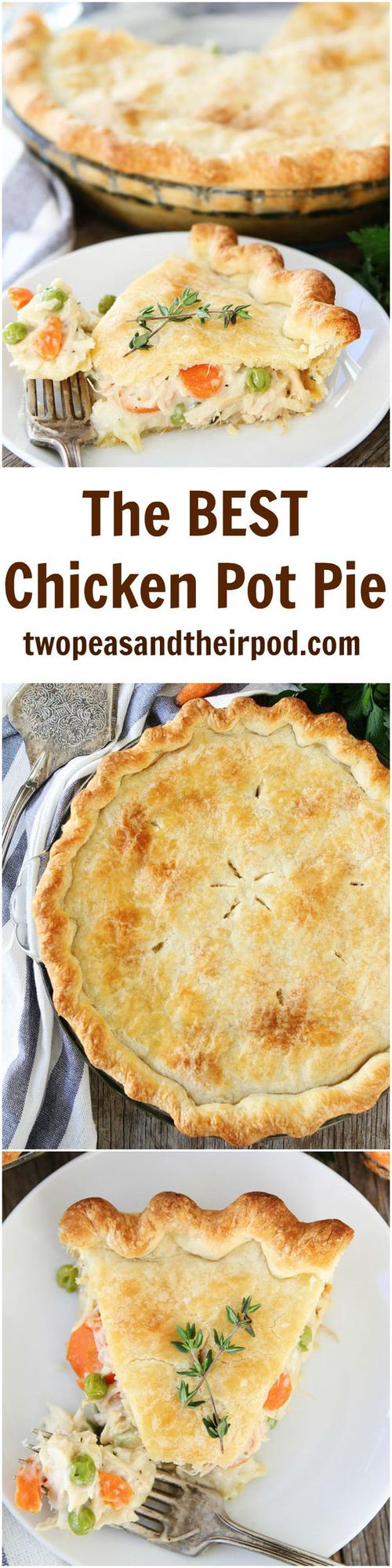 Chicken Pot Pie -this classic homemade chicken pot pie is the ultimate comfort food! Learn how to make this easy chicken pot pie recipe and you'll never buy a chicken pot pie again! #chicken #potpie #dinner #chickenrecipe Visit twopeasandtheirpod.com for more simple, fresh, and family friendly meals.