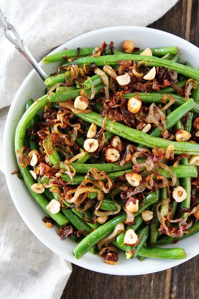 Green Beans with Brown Butter, Crispy Shallots, and Hazelnuts Recipe