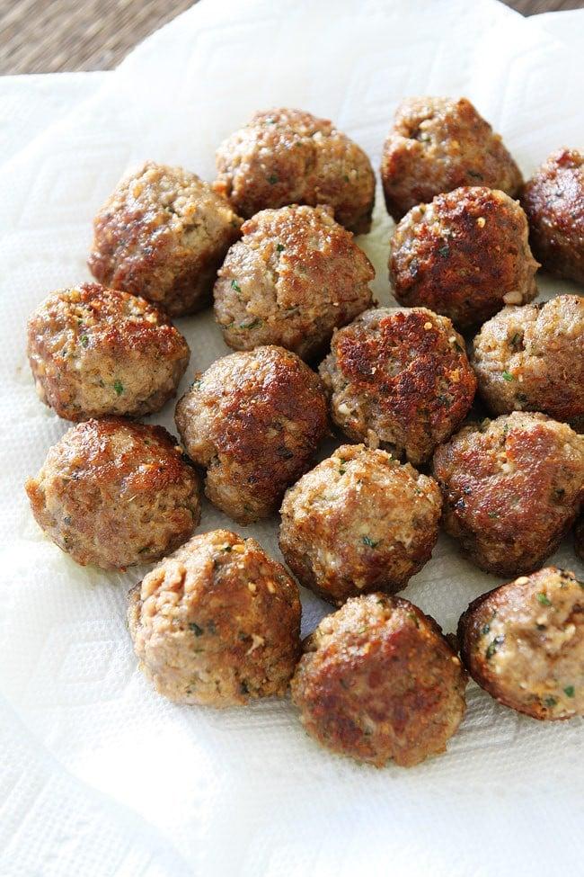 Italian meatballs on plate