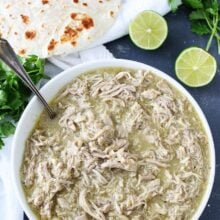 chile verde made in 25 minutes served with lime and tortilla