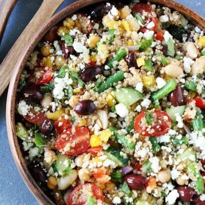 healthy mediterranean quinoa salad full of protein