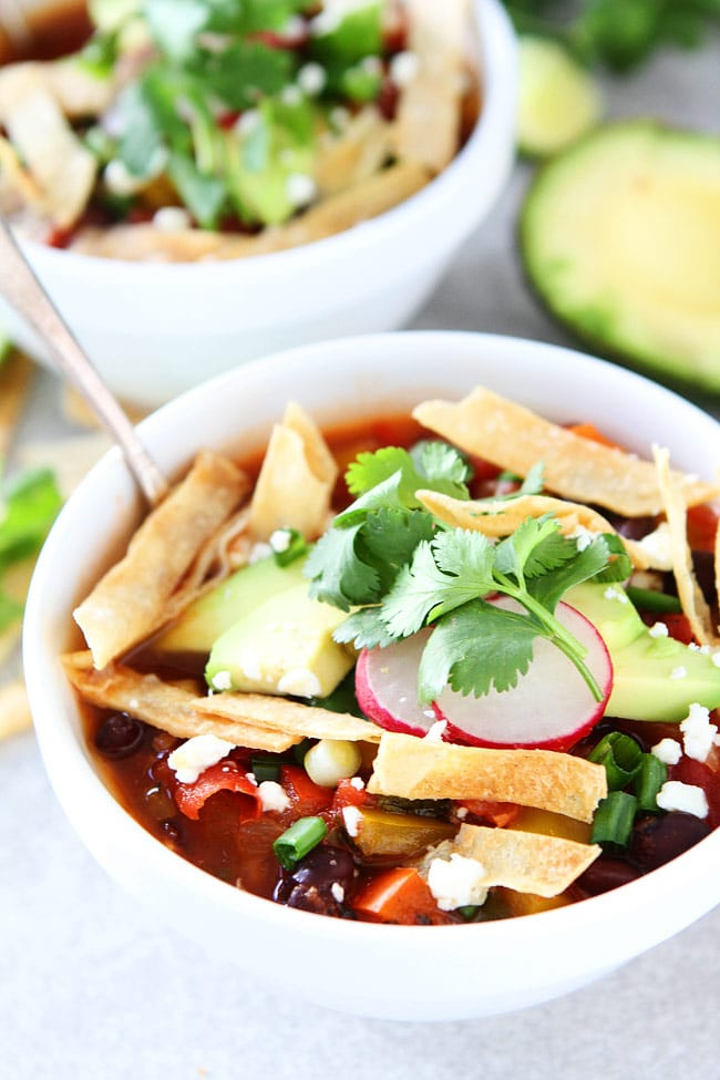 Slow Cooker Black Bean Tortilla Soup Recipe