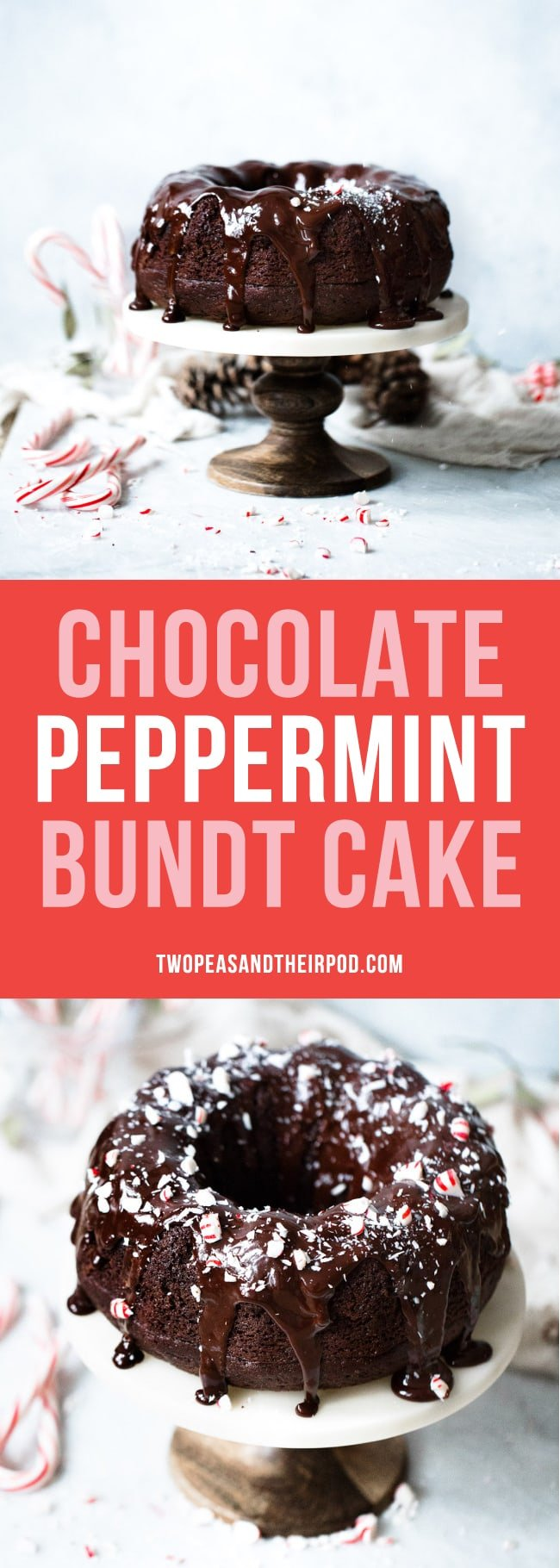 Chocolate Peppermint Bundt Cake is the perfect dessert for Christmas and the holidays. #Christmas #holidays #chocolatecake #chocolate #peppermint