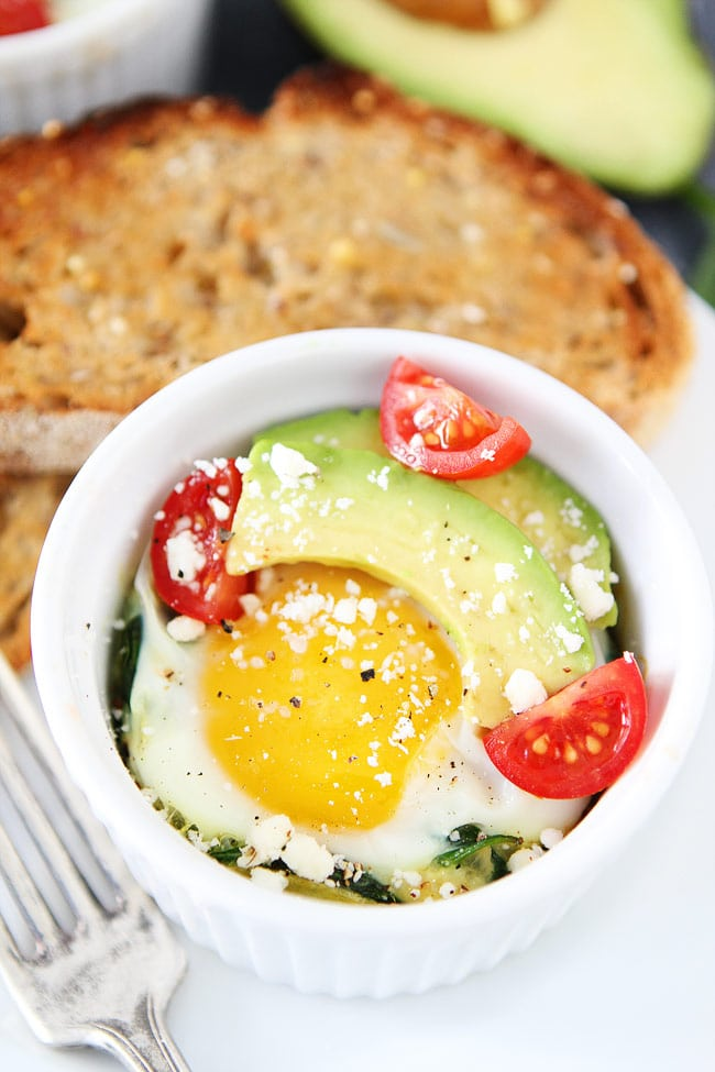 Baked Eggs with Spinach | Two Peas & Their Pod