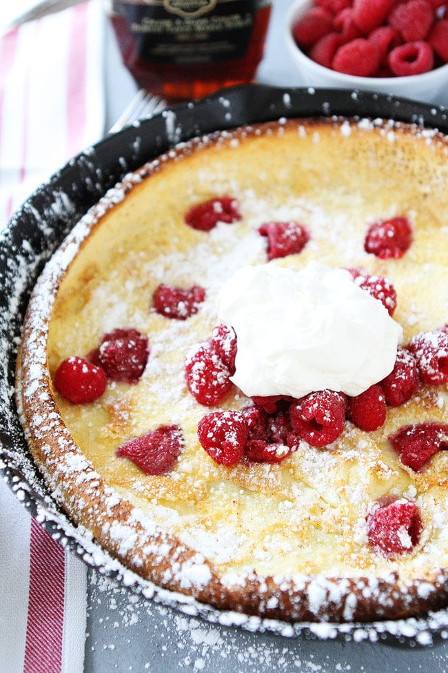 Raspberry Dutch Baby Pancake in Pan
