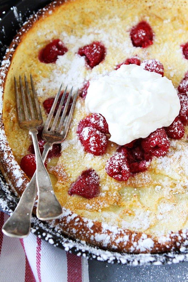 Raspberry Dutch Baby with whipped cream