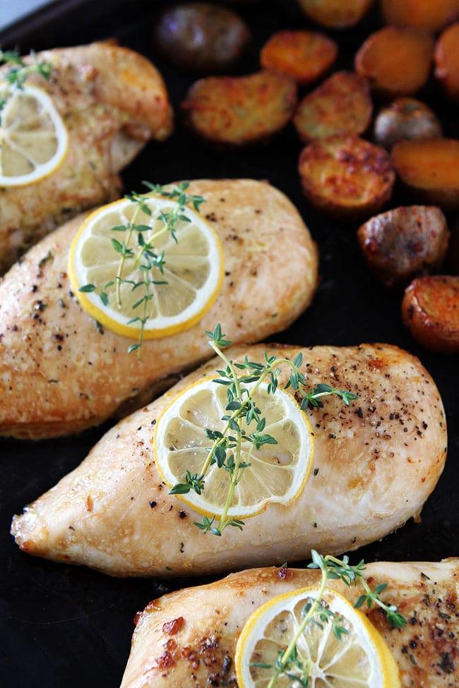 Sheet Pan Lemon Thyme Chicken with Smoked Paprika Potatoes Recipe