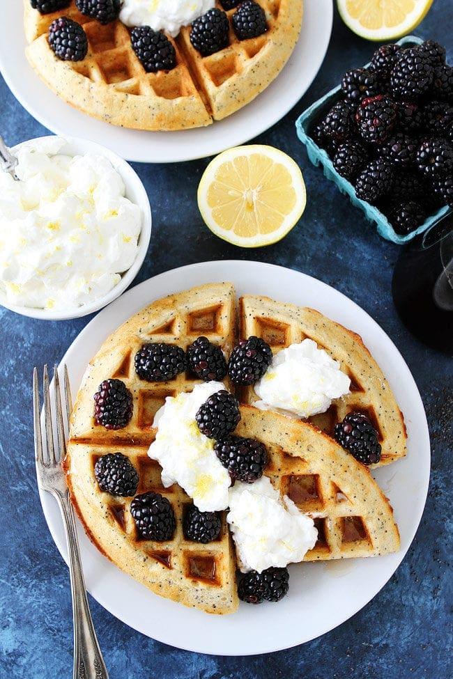 Lemon Poppy Seed Waffles with lemon whipped cream and fresh blackberries make a wonderful breakfast or brunch.