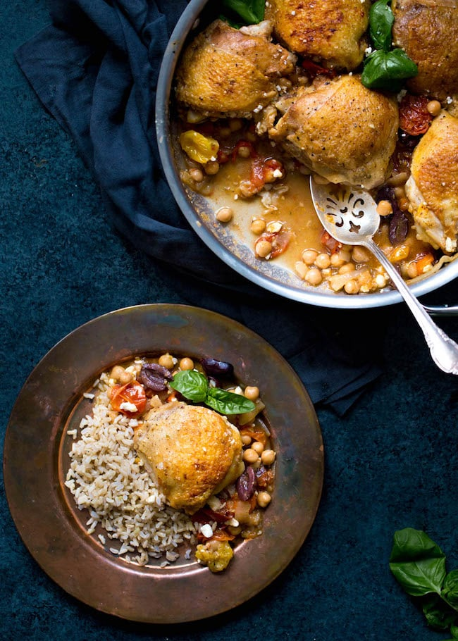 Skillet Chicken with Chickpeas, Tomatoes, and Olives Recipe