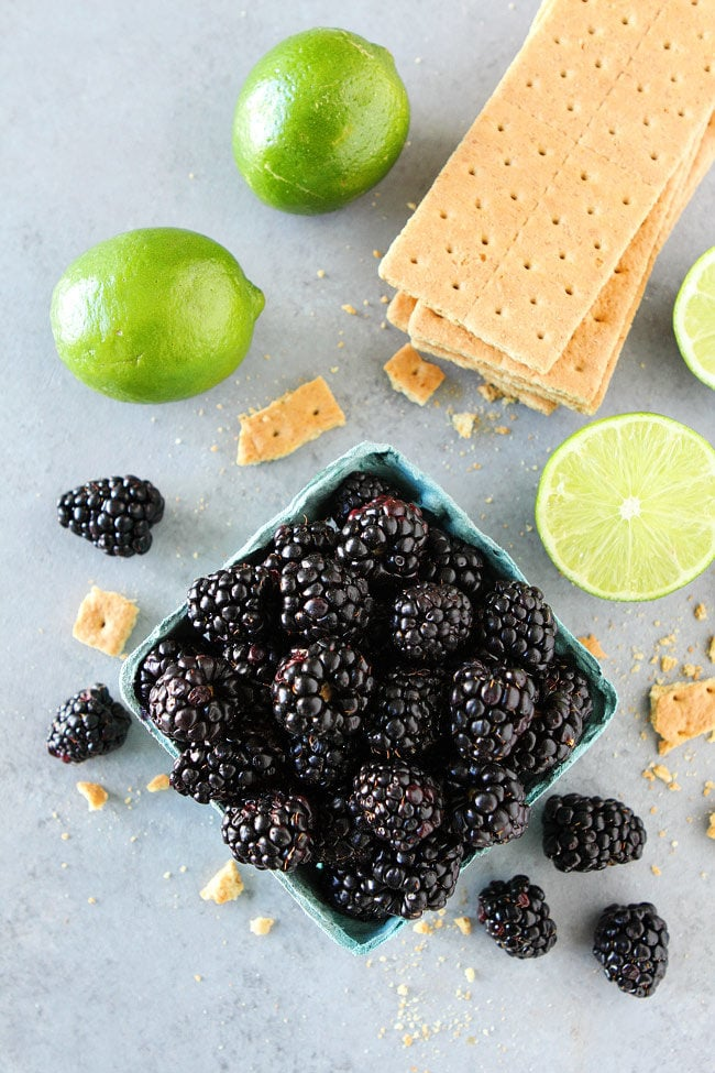 Blackberry Lime Bars have a creamy, lime filling, fresh blackberries, and an easy graham cracker crust. A family favorite dessert!