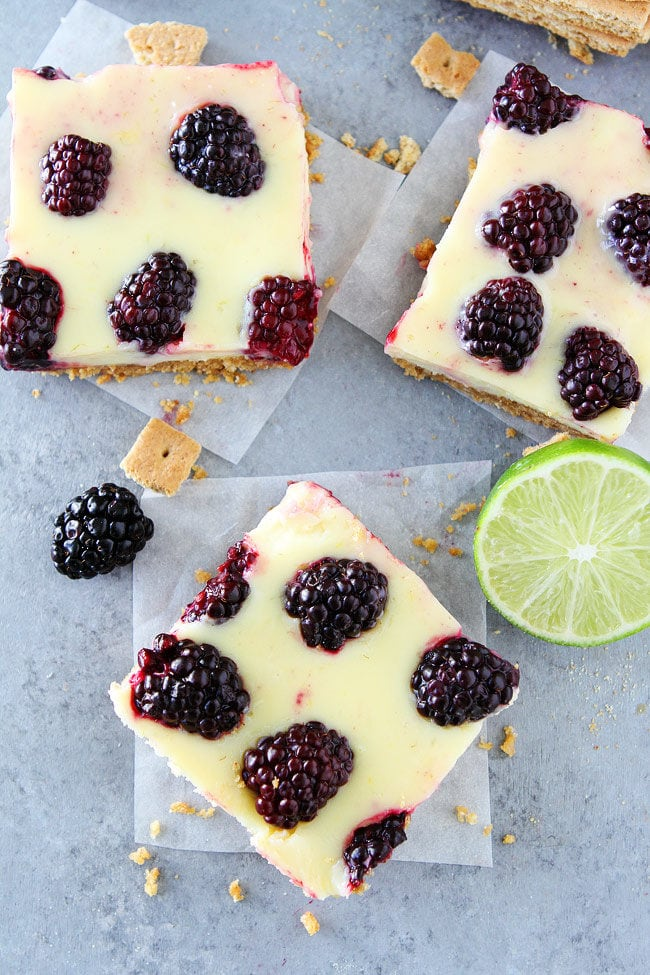 Blackberry Lime Bars are made with a creamy, lime filling, fresh blackberries, and an easy graham cracker crust.
