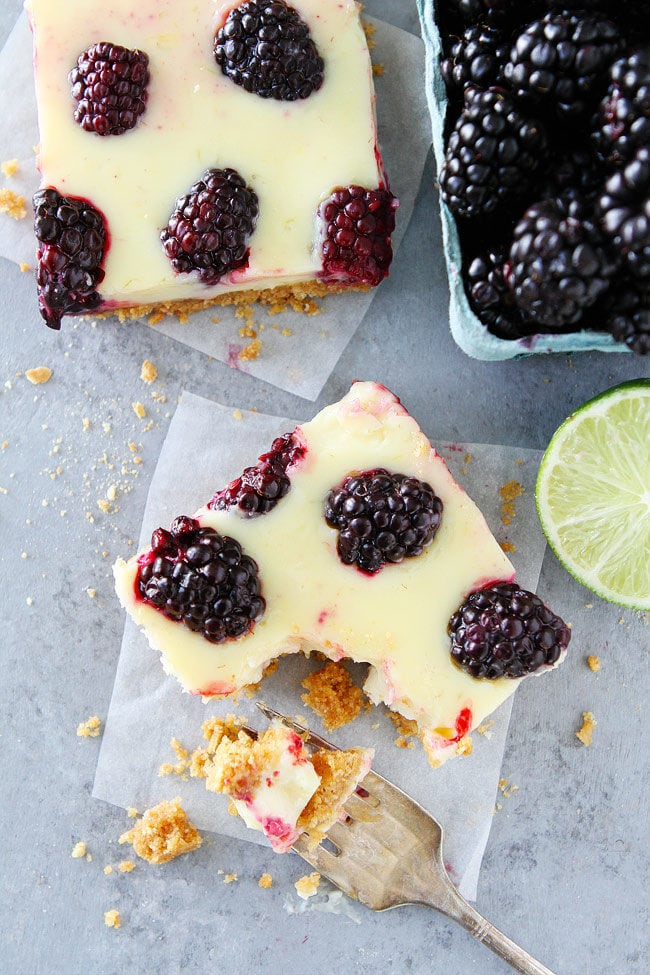 Blackberry Lime Bars have a creamy, tart lime filling, fresh blackberries, and an easy graham cracker crust.