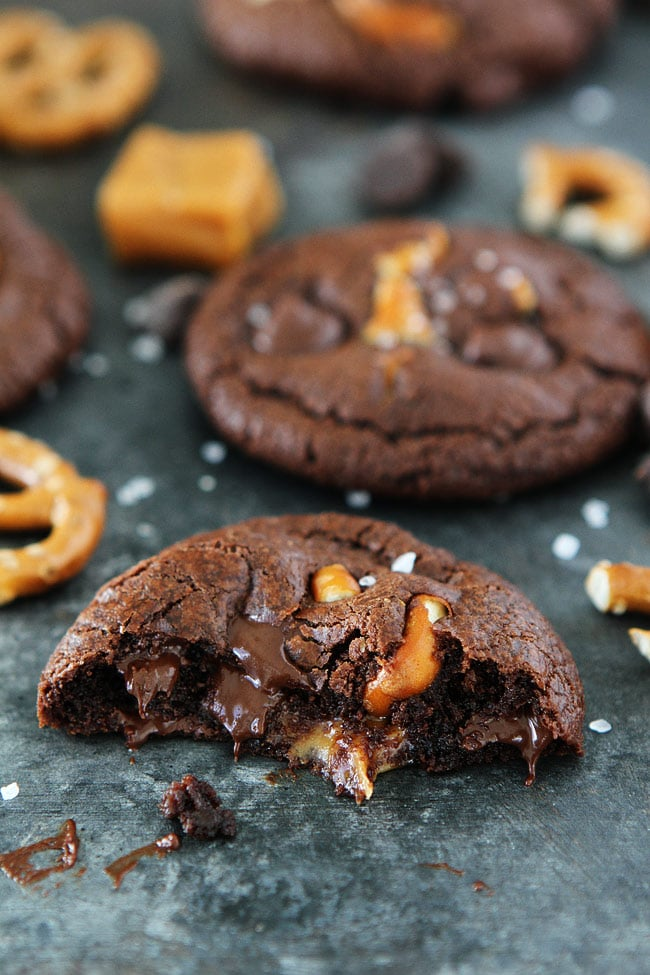 Chocolate Salted Caramel Pretzel Cookies Recipe