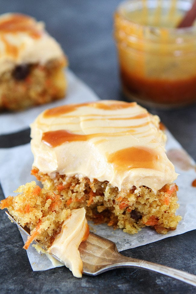 Easy Carrot Cake with Caramel Cream Cheese Frosting Recipe