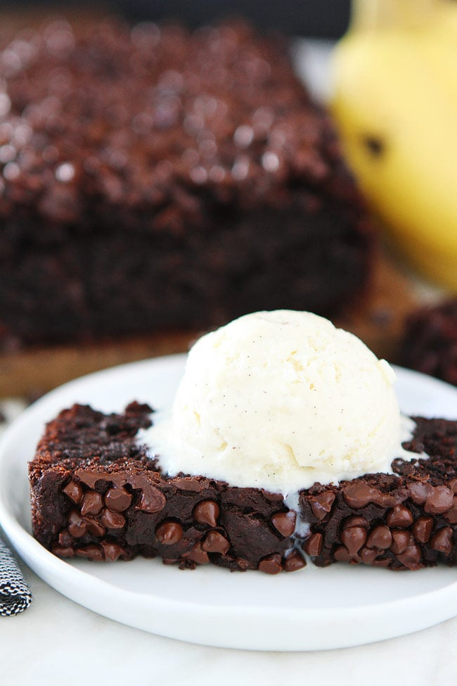Plate with Chocolate Gluten Free Banana Bread with Vanilla Ice Cream