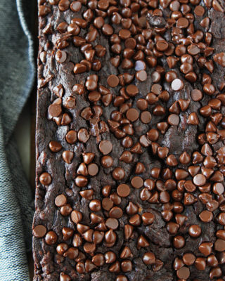Chocolate Vegan Banana Bread with Vegan Mini Chips baked on top