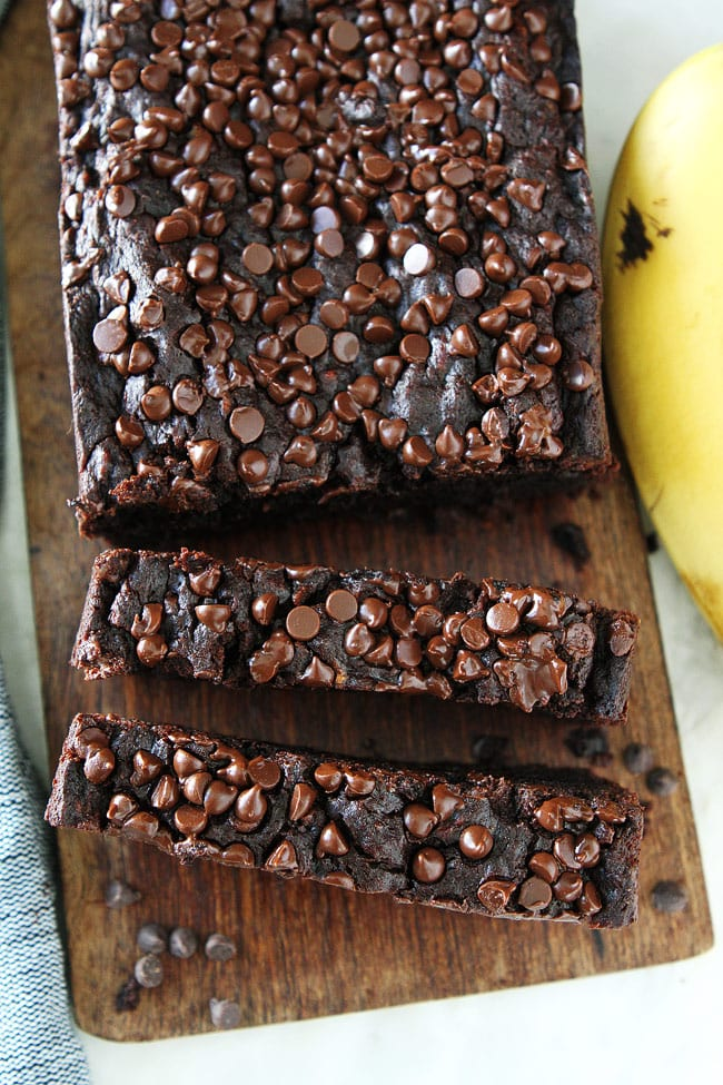 Chocolate Gluten Free Banana Bread with Vegan Chocolate Chips