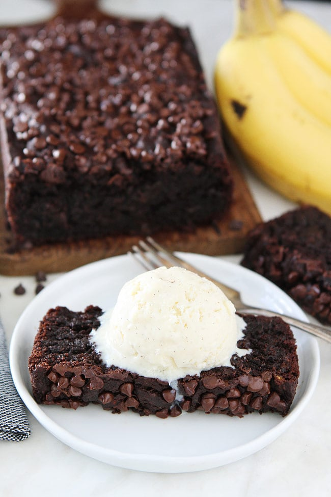 Chocolate Gluten-Free Banana Bread served with ice cream