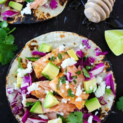 Honey and lime glazed salmon fish tacos