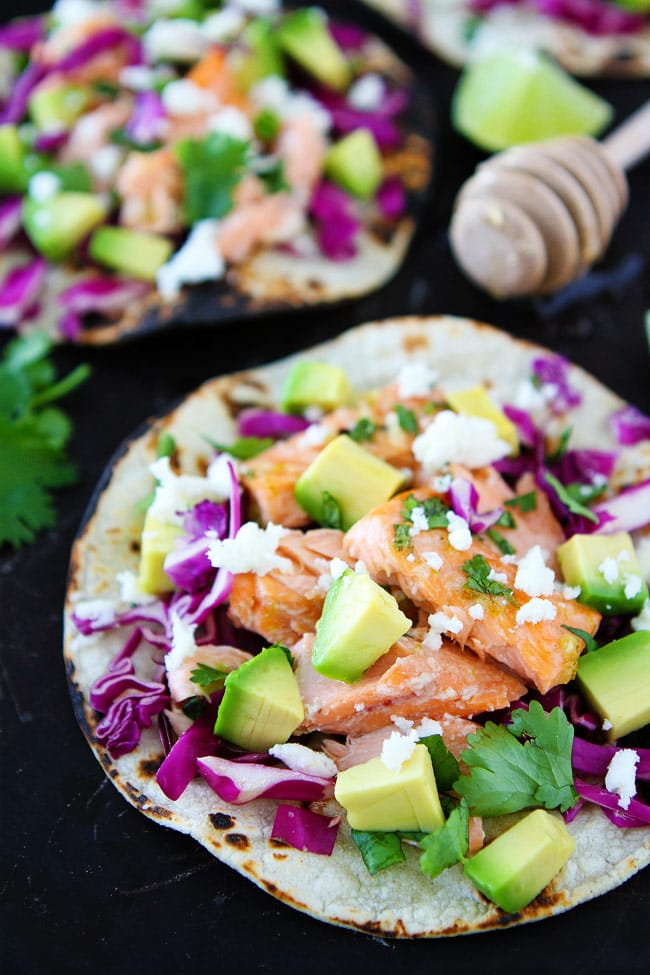 Salmon fish tacos loaded with toppings