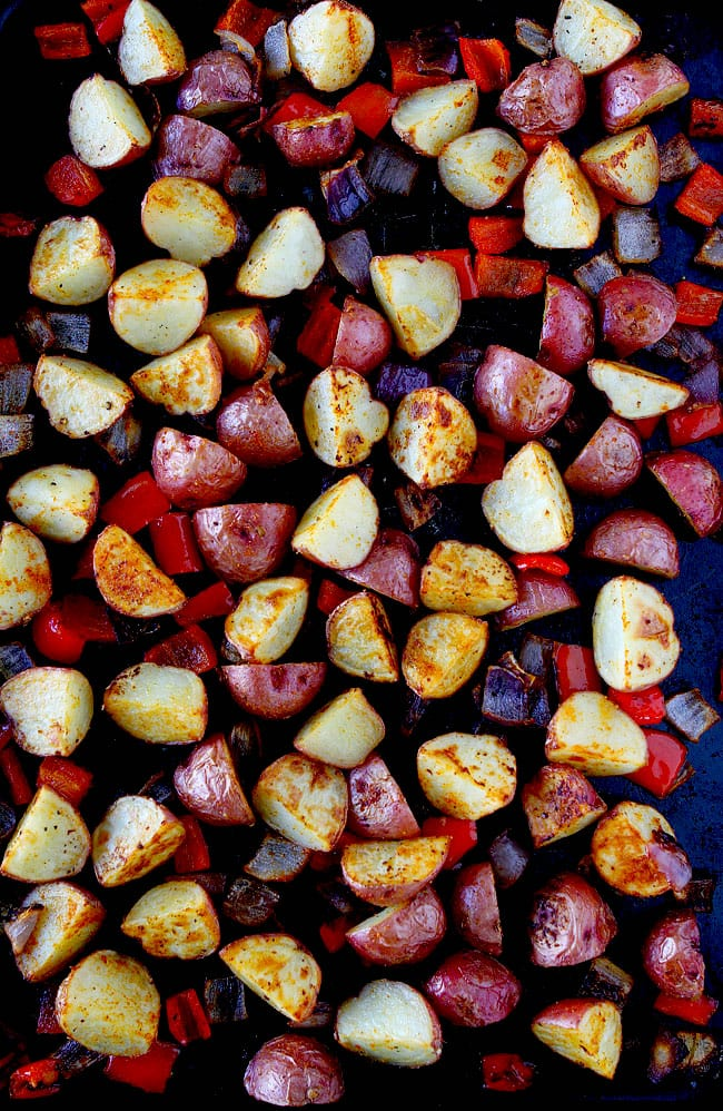 Roasted Breakfast Potatoes on baking sheet